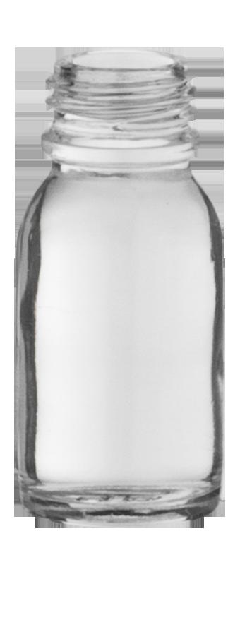 flacon rond e o 15ml pharma 18 verre transparent embelia. Black Bedroom Furniture Sets. Home Design Ideas